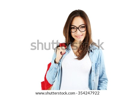 Portrait of a young student girl on a white background - stock photo