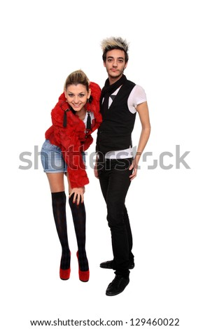 portrait of a young stylish couple isolated on a white background