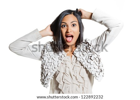 portrait of a young surprise  woman, hair pulling. isolated on white background - stock photo