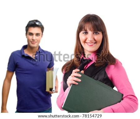 Portrait of a young teacher and a student. Isolated on white. - stock photo