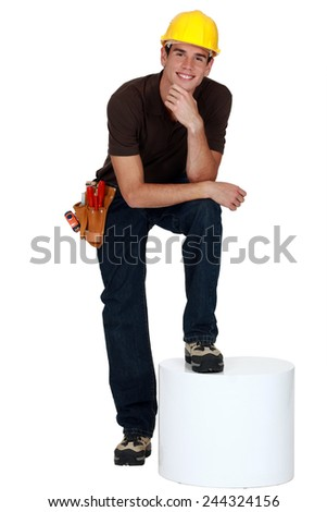 Portrait of a young tradesman - stock photo