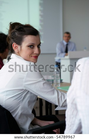 Portrait of a young woman in a training room - stock photo