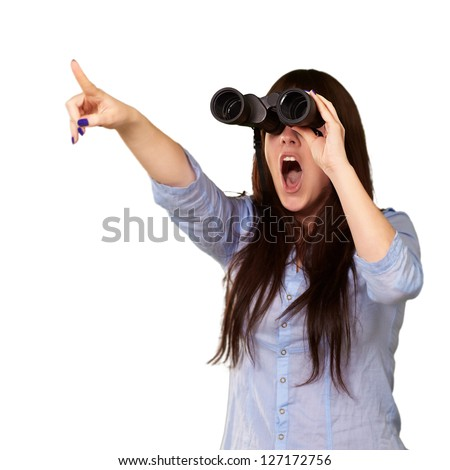 Portrait Of A Young Woman Looking Through Binoculars On White Background - stock photo