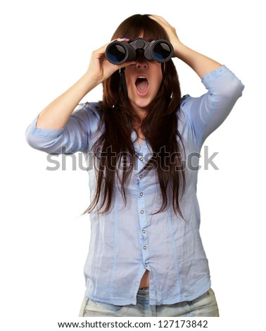 Portrait Of A Young Woman Looking Through Binoculars On White Background