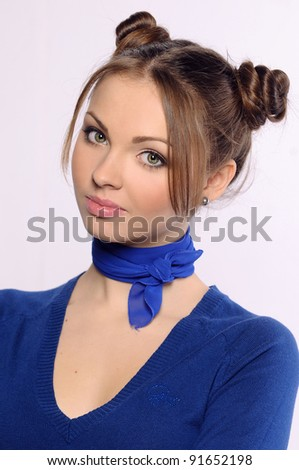 portrait of a young woman on isolated background - stock photo