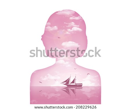 portrait of a young woman showing her inner world as a beautiful water and air landscape of pink color, image of a dreamer's world - stock photo