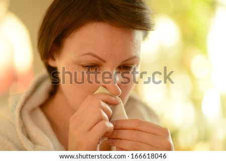 Portrait of a young woman sick cold - stock photo