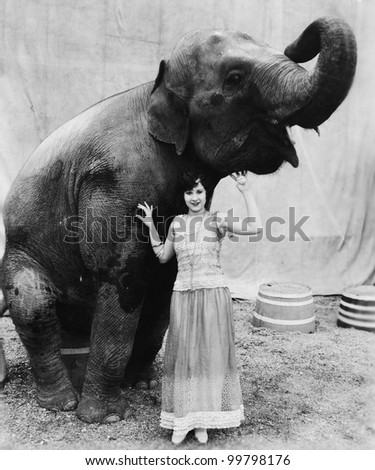 Portrait of a young woman standing under an elephant - stock photo