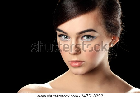 portrait of a young woman. Trendy hairstyles, trendy make-up. sexy look - stock photo