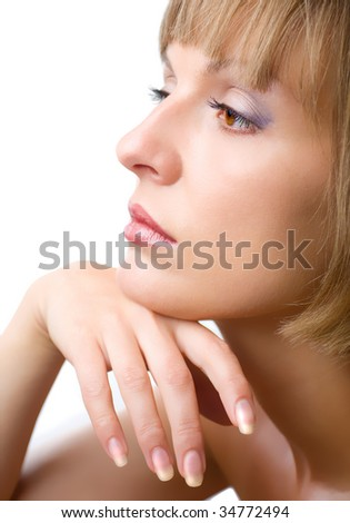 Portrait of a young woman with beautiful make-up - stock photo