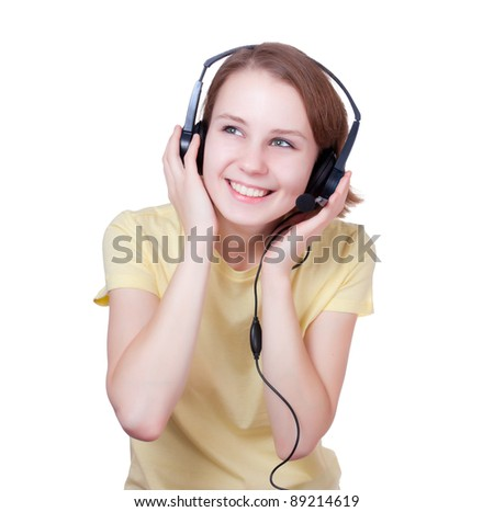portrait of a young woman with headset on a  white background