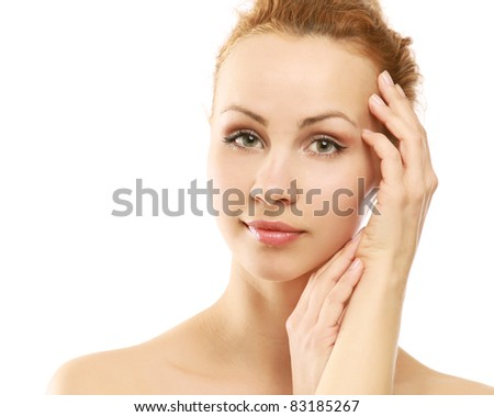 Portrait of a young  woman with health skin of face isolated on white background.