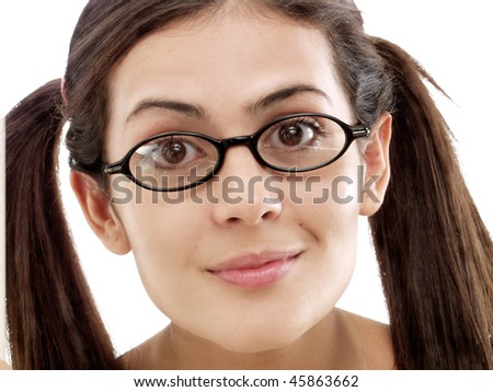 Portrait of a young woman with sunglasses. - stock photo