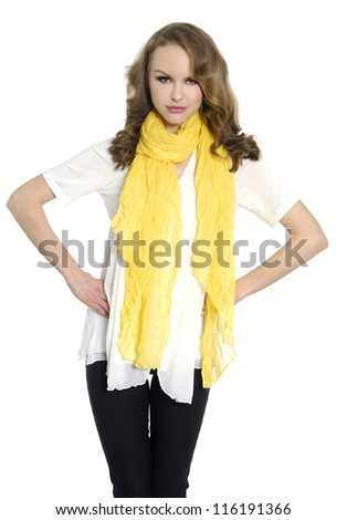 Portrait of a young woman with yellow scarf