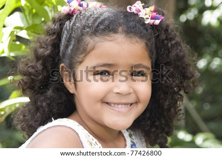 Portrait of Addorable Happy Beautiful Little Girl