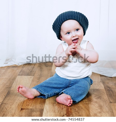 portrait of adorable baby, smilling boy - stock photo