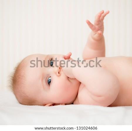 portrait of adorable baeutiful baby - stock photo