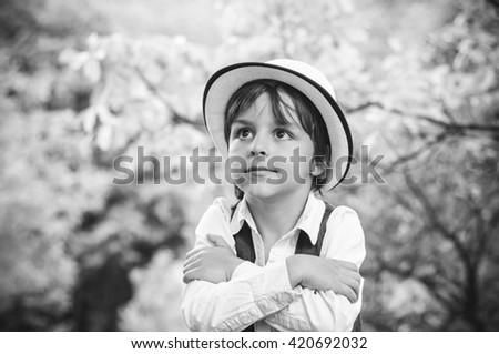 portrait of adorable boy - stock photo