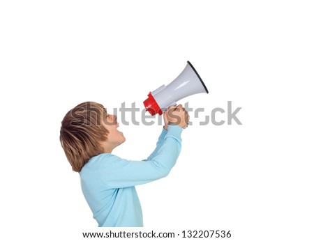 Portrait of adorable child with a megaphone isolated on a over white background - stock photo