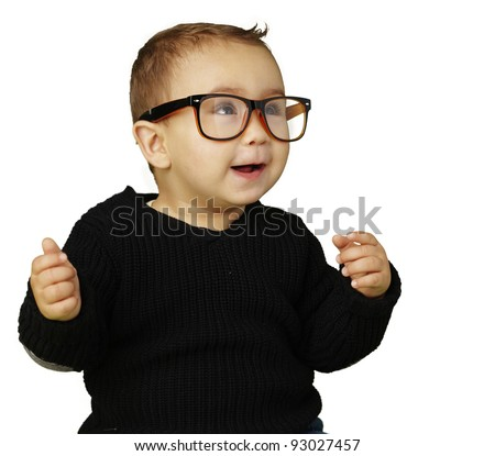 portrait of adorable kid wearing glasses and gesturing over white - stock photo