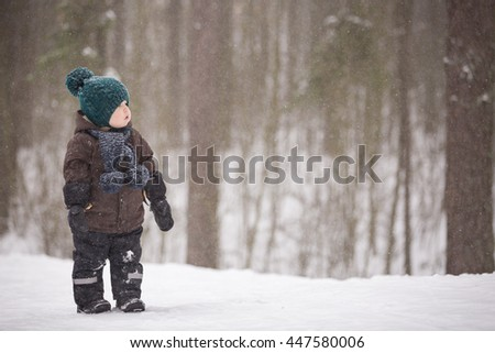 Portrait of adorable little toddler boy walking in the winter forest and having fun with snow. Child enjoying winter. Child watching falling snow outdoors. Winter, Christmas and lifestyle concept. - stock photo
