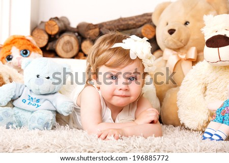 Portrait of adorable smiling little girl in princess dress with her handbag