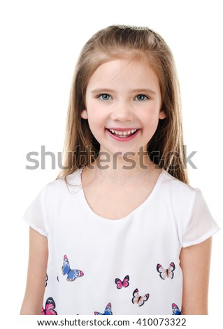 Portrait of adorable smiling  little girl isolated on a white