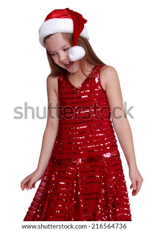 Portrait of adorable young model posing on camera with lovely christmas decoration on Beauty and Fashion theme - stock photo