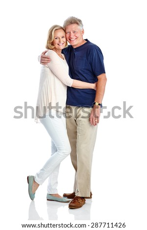 Portrait of affectionate mature couple in casuals on white background - stock photo