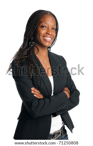 Portrait of African American businesswoman smiling - stock photo
