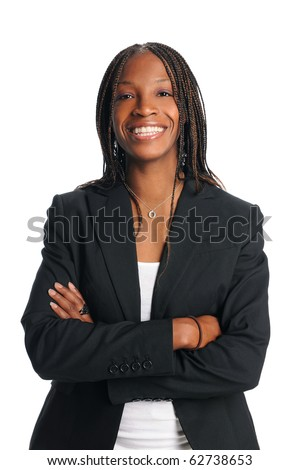 Portrait of African american businesswoman smiling isolated over white background