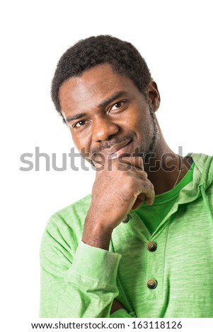 Portrait of African American Cheerful black man smiling isolated on white background - stock photo