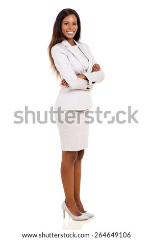 portrait of african business woman with arms folded - stock photo