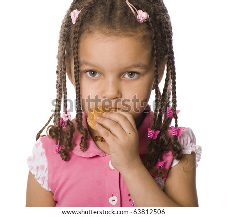portrait of african girl with dreadlocks  isolated on white background - stock photo