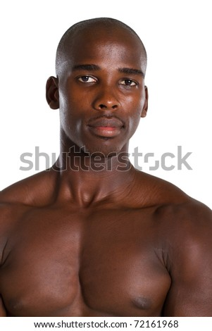 portrait of african male bodybuilder - stock photo