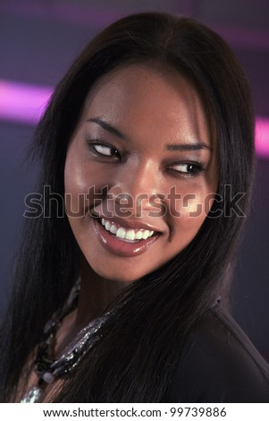 Portrait of African woman looking sideways