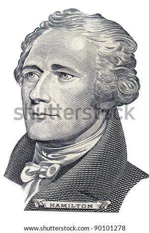 Portrait of Alexander Hamilton in front of the ten dollar bill - stock photo