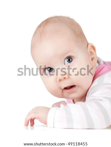 Portrait of amazed small baby. Isolated on white background
