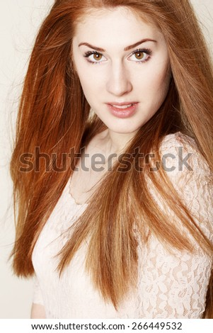 Portrait of amazinly sexy beautiful young redhead woman - stock photo