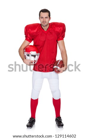 Portrait of American Football player. Isolated on white - stock photo