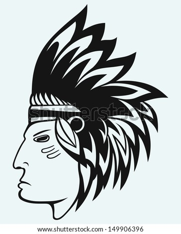 Portrait of american indian isolated on blue background. Raster version - stock photo