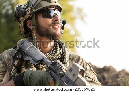 Portrait of American Soldier looking away - stock photo