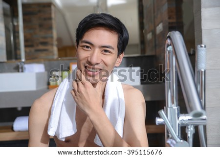 Portrait of an adolescent young man Healthy man lifestyle and grooming - stock photo