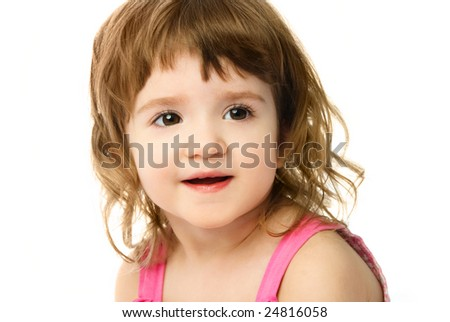 portrait of an adorable caucasian one year old girl