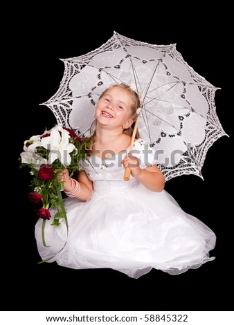 Portrait of an adorable little girl posing as a amiling bride holding a bouquet of flowers and umbrella