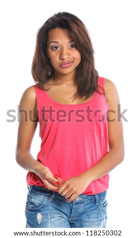 Portrait of an adorable young mulatto girl. Isolated white backround - stock photo