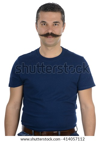 Portrait of an adult man with mustache isolated on white background. - stock photo