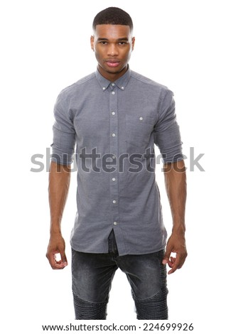 Portrait of an african american male fashion model posing on isolated white background - stock photo