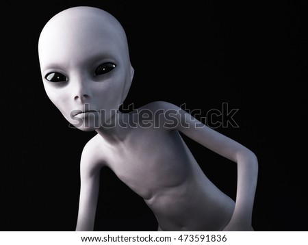 Portrait of an alien, 3D rendering. Black background.