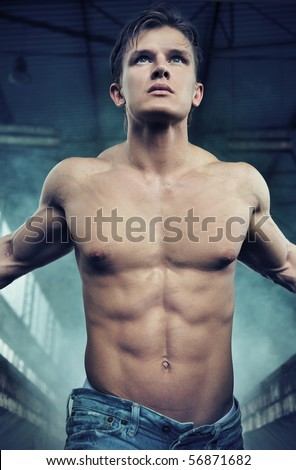 Portrait of an attractive athlete - stock photo